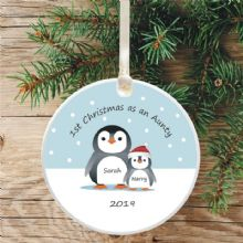 Penguin Tree Bauble Decoration, 1st Christmas as an Aunty/Uncle - Cute Penguin Gift
